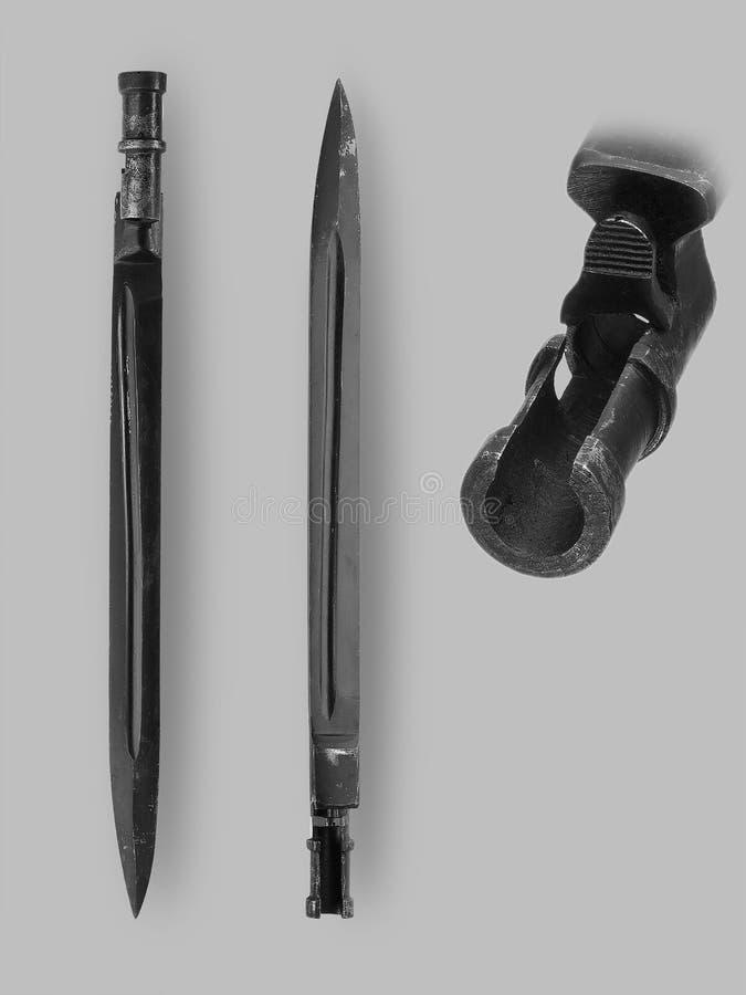 军用刺刀刀子 免版税库存照片