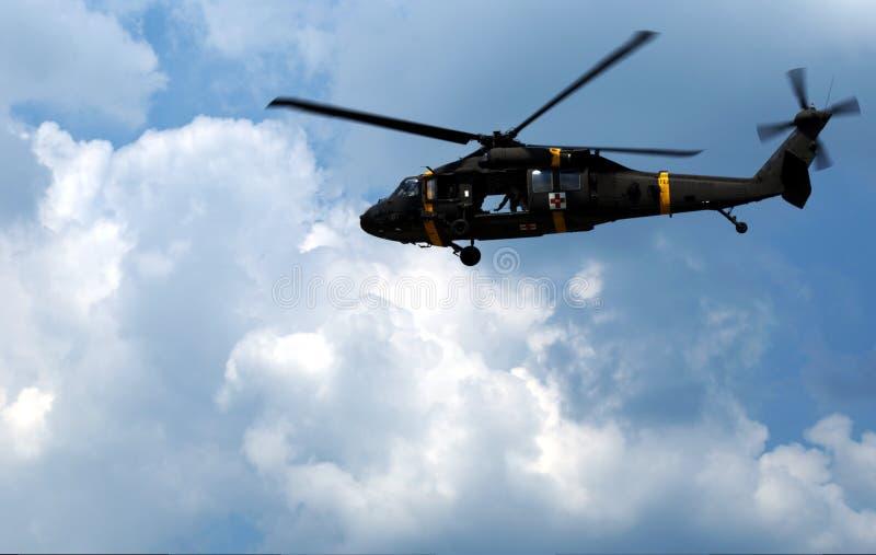 军用救伤直升机直升机 库存图片