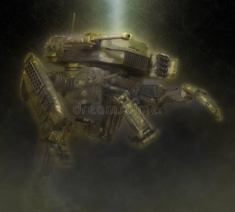 军用机器人 3d在意想不到的黑暗的背景的例证 皇族释放例证