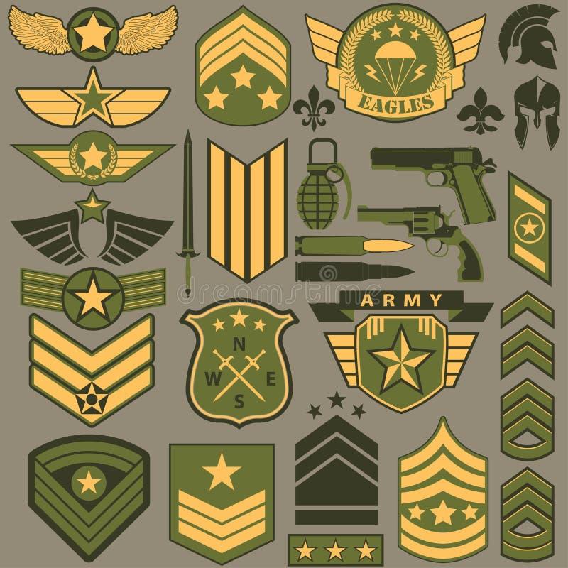 军用符号集合,军队修补传染媒介 库存例证