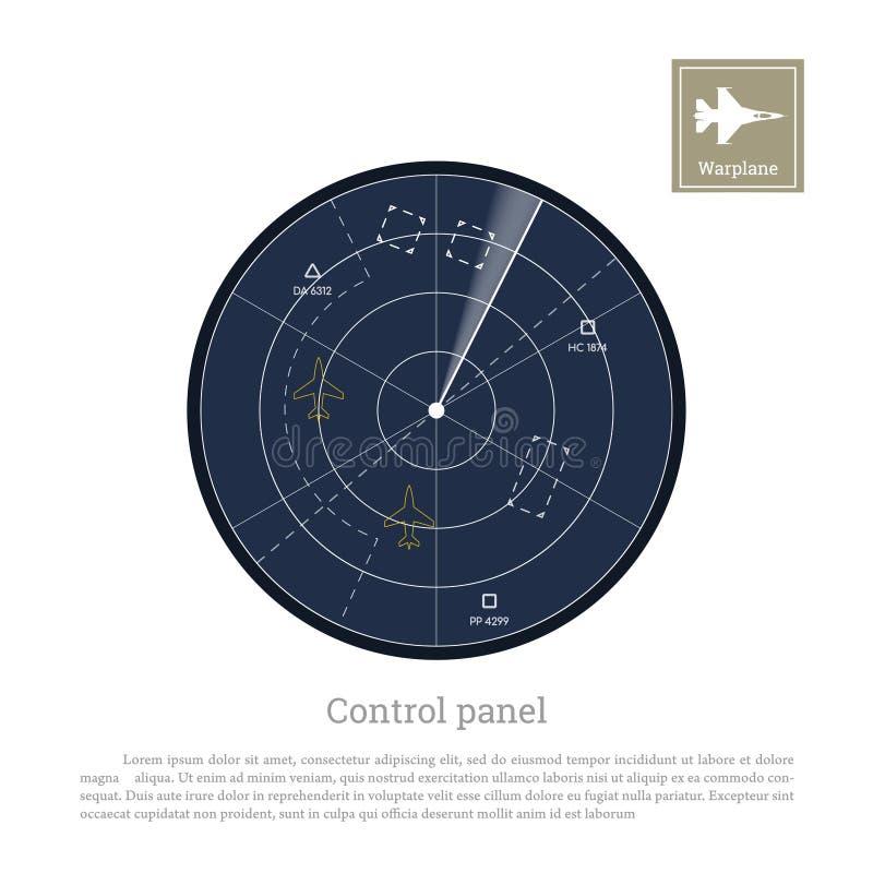 军用雷达 陆航的控制板 有地图的屏幕 向量例证