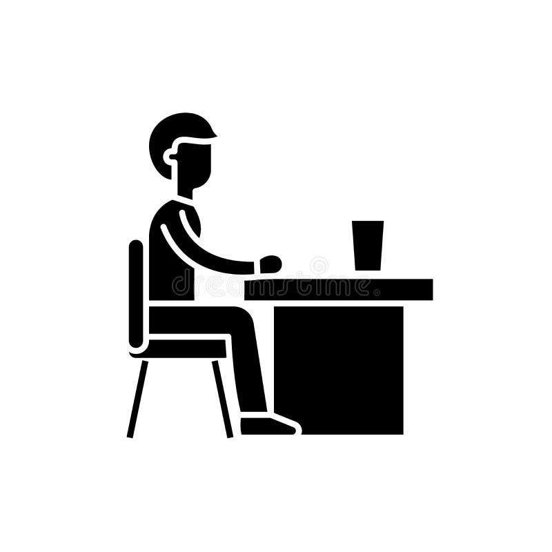 军用餐具黑色象,在被隔绝的背景的传染媒介标志 军用餐具概念标志,例证 库存例证