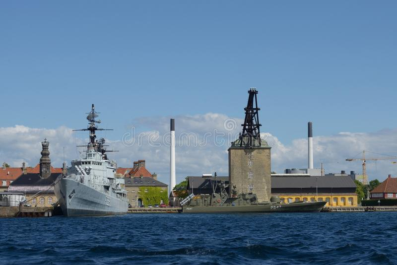 军舰在哥本哈根 免版税图库摄影