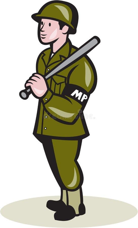 军警与夜黏附警棒动画片 皇族释放例证