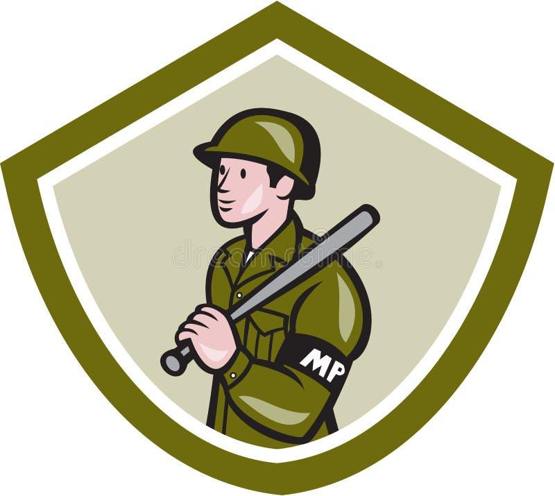 军警与夜黏附警棒盾 向量例证