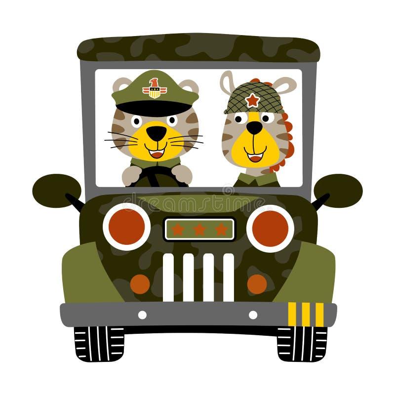 军车动画片的动物战士 向量例证