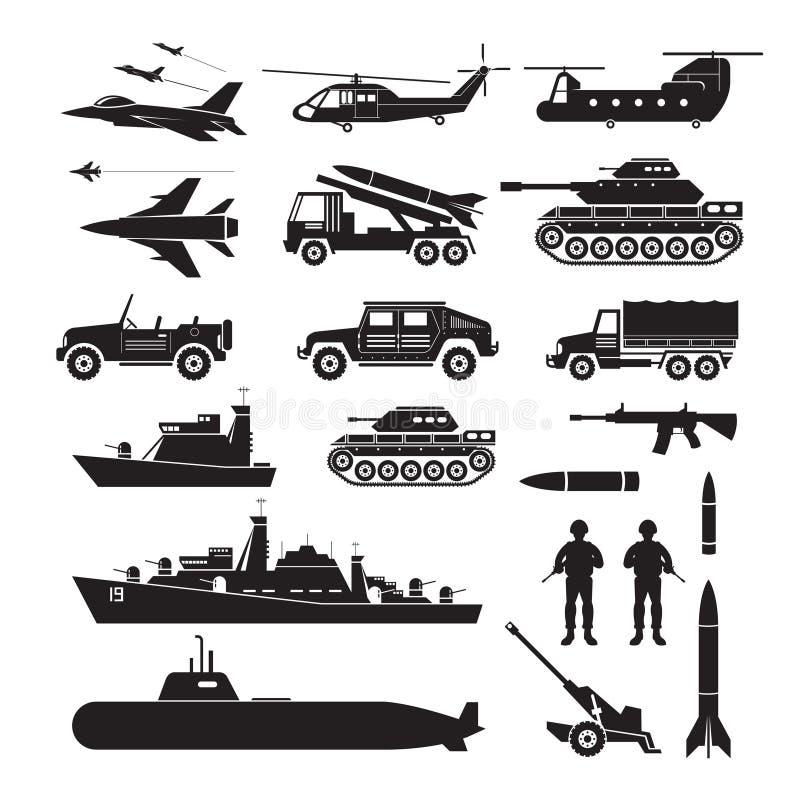 军车对象剪影集合,侧视图 向量例证