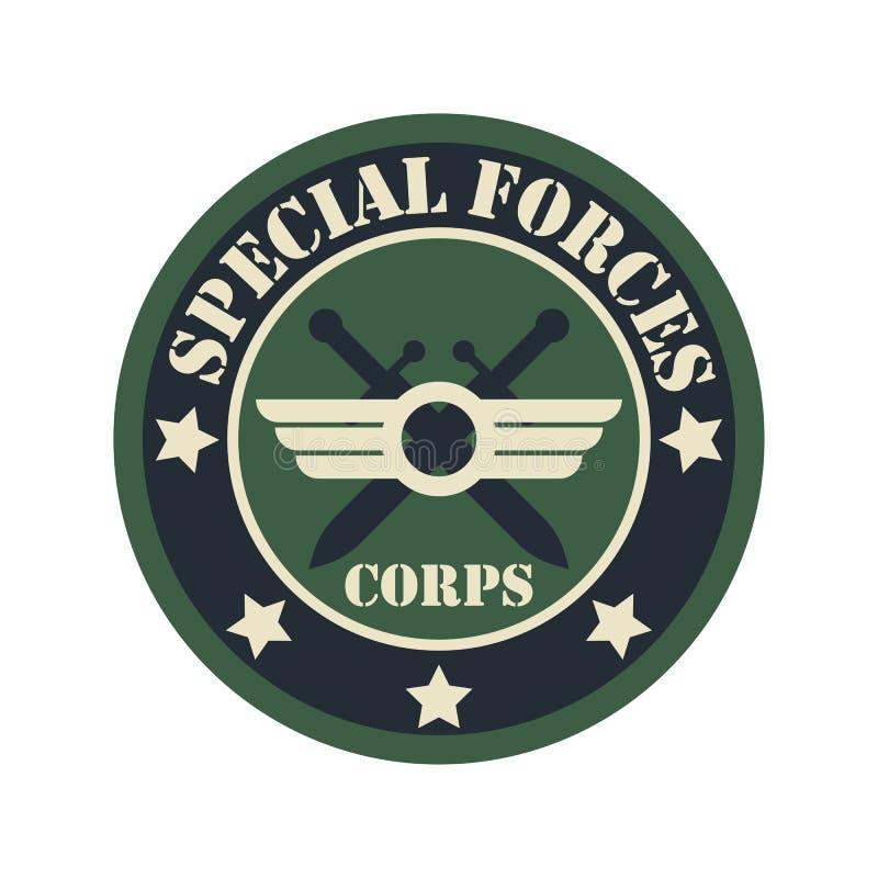 军队与文本空间的徽章商标您的口号/标记行的 皇族释放例证