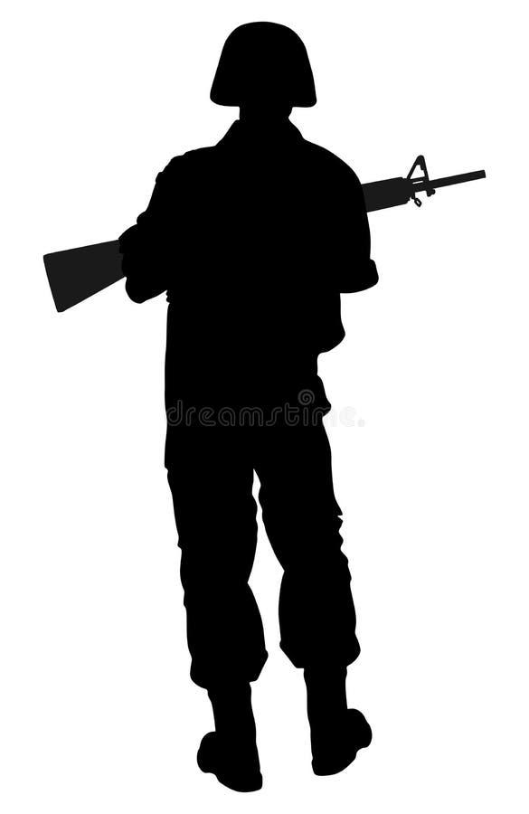 军队与步枪剪影的战士` s 军事成员 向量例证