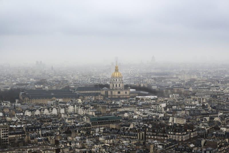 军队博物馆,巴黎从上面-从艾菲尔铁塔,法国 库存照片