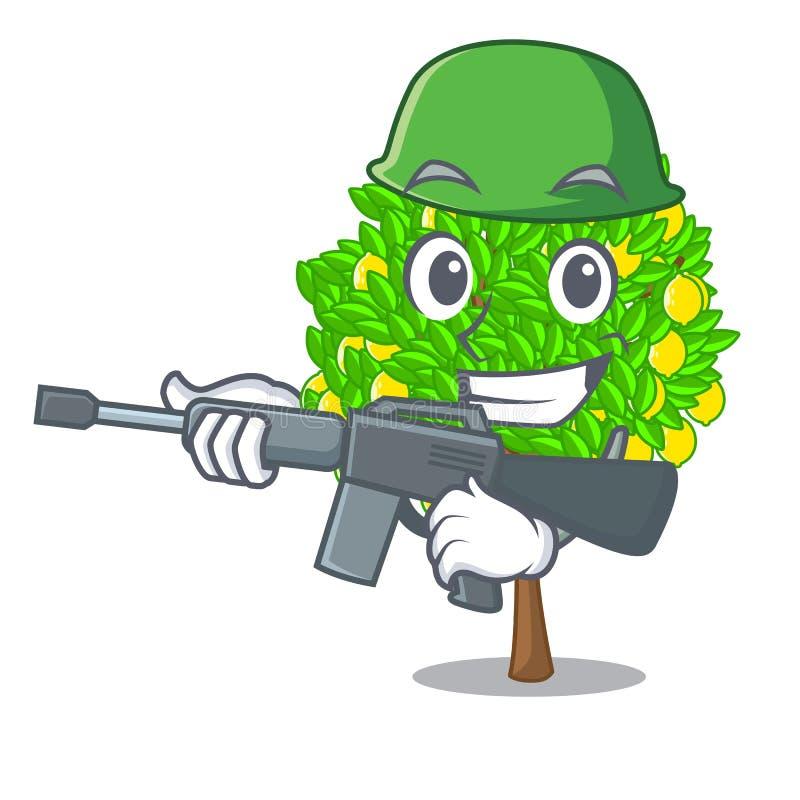 军队在动画片形状的柠檬树 库存例证