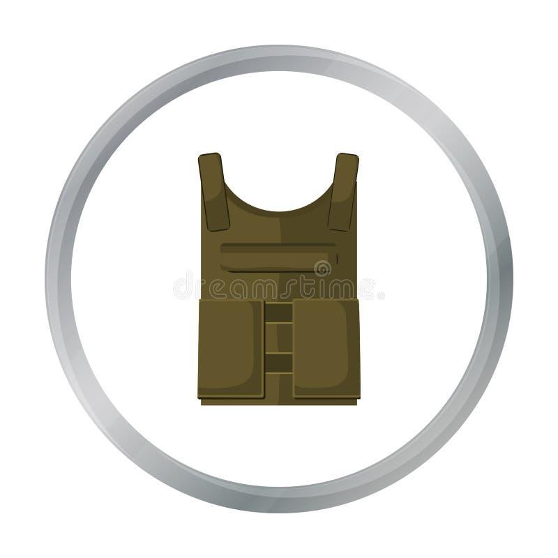 军队在白色背景在动画片样式的防弹背心象隔绝的 军事和军队标志股票传染媒介 向量例证