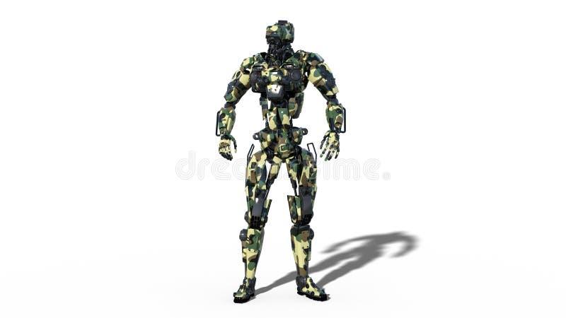 军队机器人,武力靠机械装置维持生命的人,在白色背景隔绝的军事机器人战士, 3D回报 向量例证