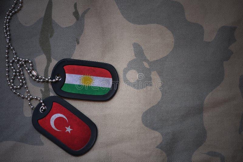 军队空白、卡箍标记与库尔德斯坦的旗子和火鸡在卡其色的纹理背景 免版税库存照片