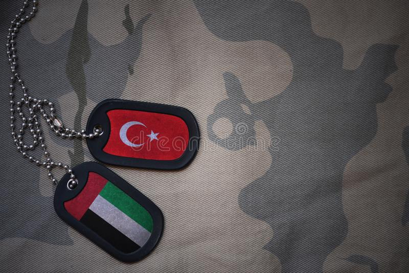 军队空白、卡箍标记与火鸡旗子和阿拉伯联合酋长国卡其色的纹理背景的 库存照片