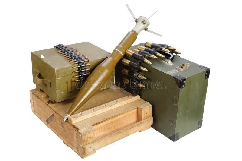 军队箱有火箭推进式榴弹的弹药 图库摄影