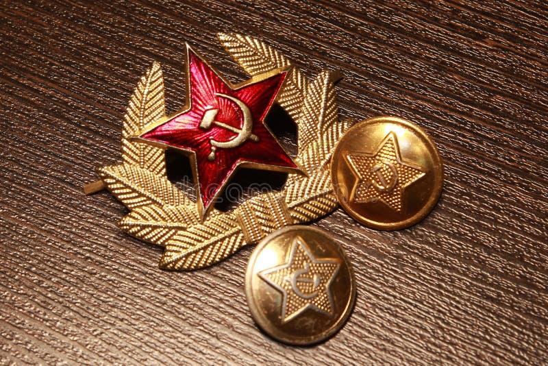 军队苏联 按钮和帽徽 图库摄影