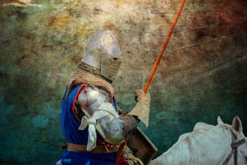 军马的-减速火箭的明信片装甲的骑士 库存图片