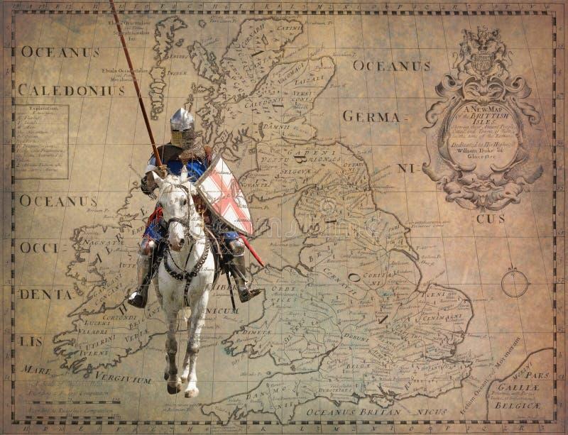 军马的-减速火箭的明信片装甲的骑士 库存照片