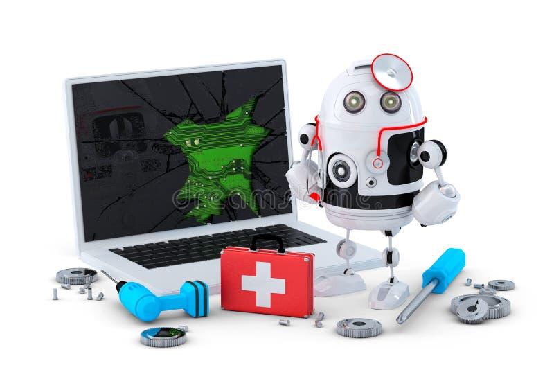 军医机器人。膝上型计算机修理概念。 库存例证