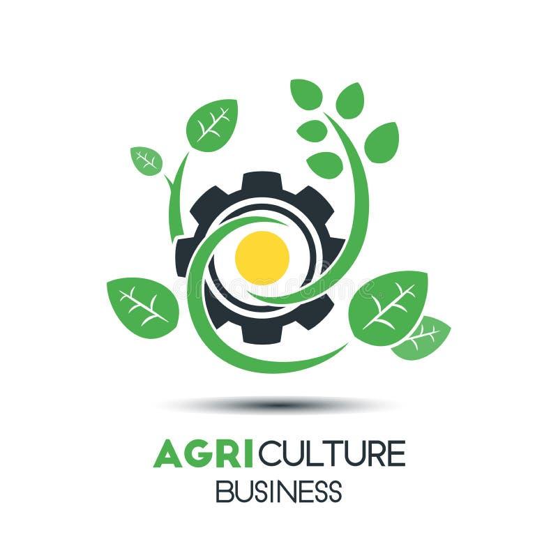 农业企业传染媒介商标模板 有三的绿色叶子 向量例证