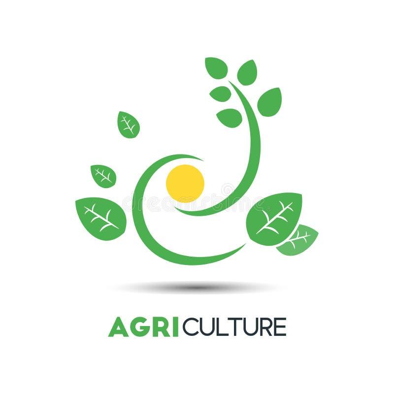农业企业传染媒介商标模板 独特的绿色叶子机智 库存例证