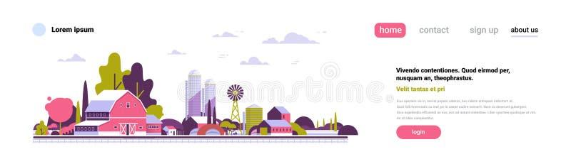 农业农厂风车谷仓大厦农田乡下风景平的设计拷贝空间横幅 皇族释放例证