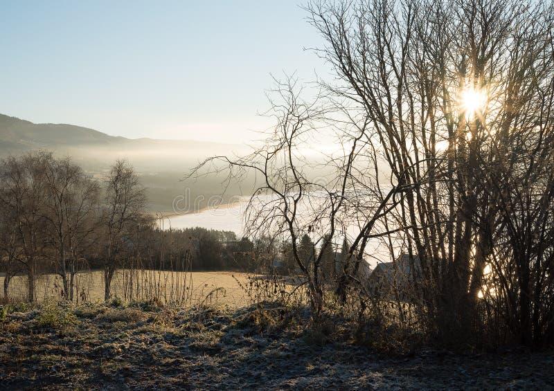 农业农村自然风景有在田园诗农田、湖和山的有薄雾的大气看法在日出 免版税库存图片