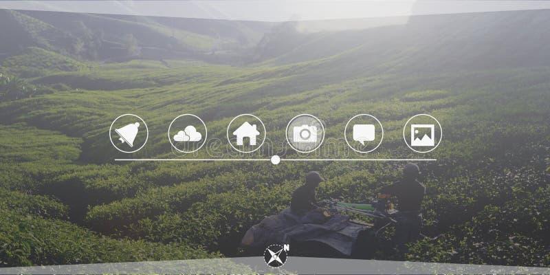 农业农田连接全球化技术概念 免版税库存图片