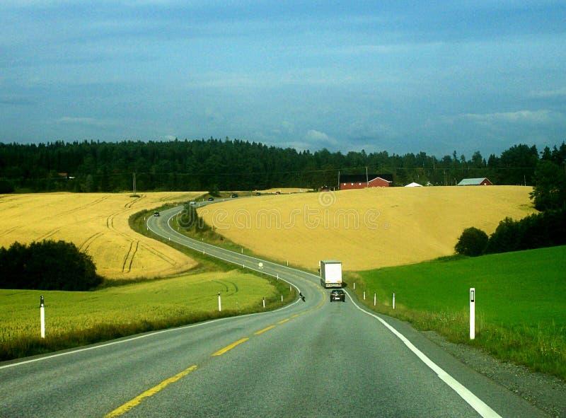 农业农田风景,瑞典 免版税库存照片