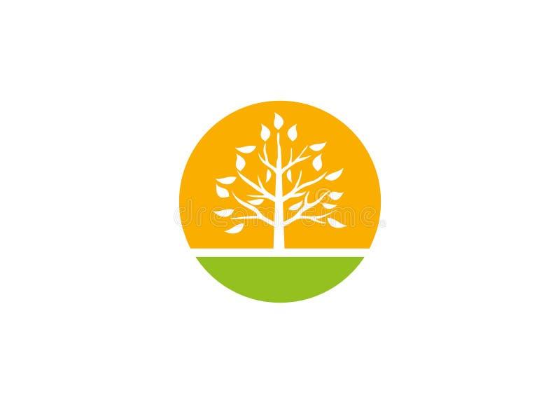农业土壤的一棵叶茂盛有大太阳的树和植物太阳植物的耕种的商标设计例证的 库存例证