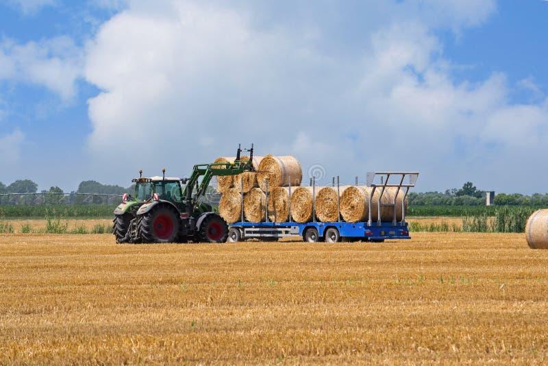 农业场面,拖拉机在拖车装载大包干草 免版税图库摄影