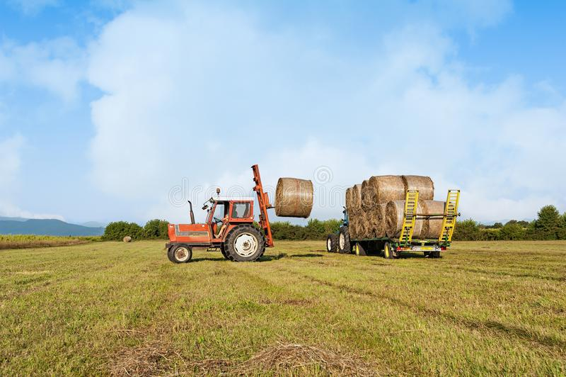 农业场面 在手推车的拖拉机增强的干草捆 图库摄影