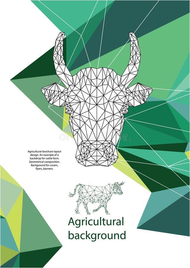 农业小册子布局设计 几何构成 盖子的,飞行物,横幅背景 库存例证
