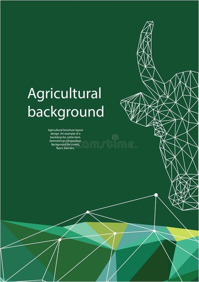 农业小册子布局设计 几何构成 盖子的,飞行物,横幅背景 皇族释放例证