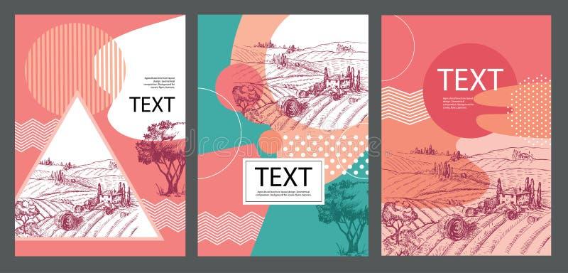 农业小册子布局设计 几何构成 盖子的,飞行物,横幅背景 向量例证