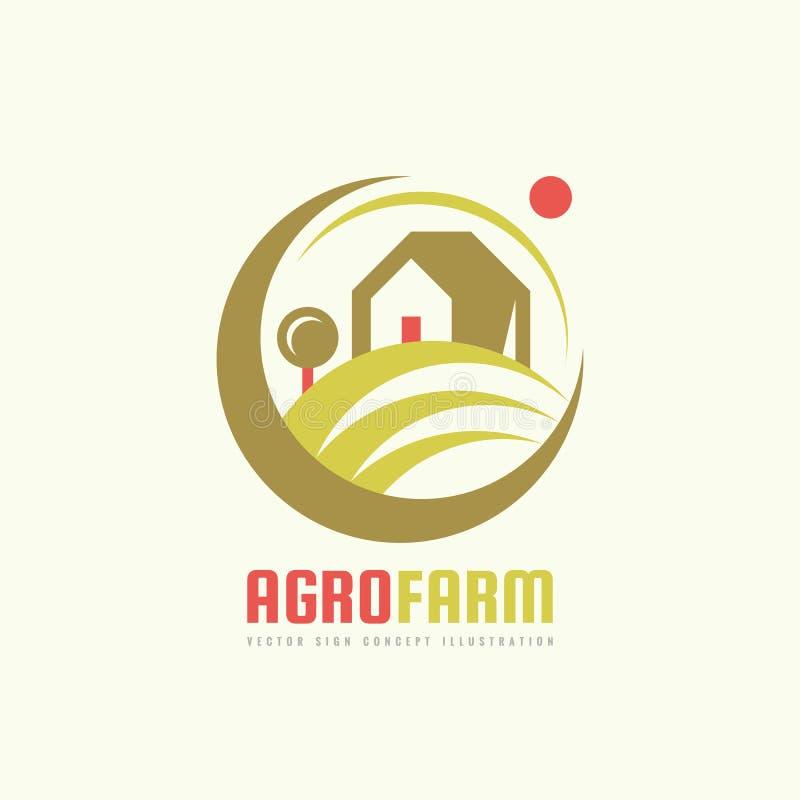 农业的农场-传染媒介商标模板概念 有机eco产品标志 种植园例证 生态自然象征 设计要素例证图象向量 库存例证