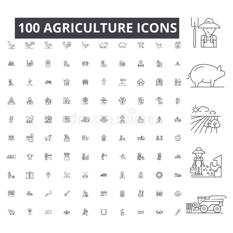 农业编辑可能的线象,在白色背景的100传染媒介集合 农业黑概述例证,标志 向量例证
