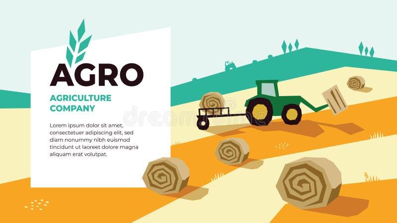 农业设计模板 农业的传染媒介例证与拖拉机的 向量例证