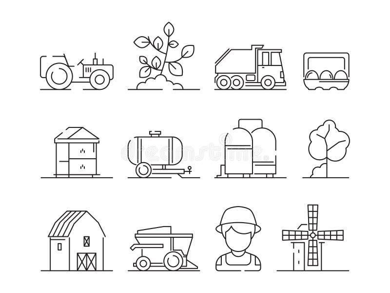 农业象 工业农业机械村庄自然领域农厂风景和大厦传染媒介标志 皇族释放例证