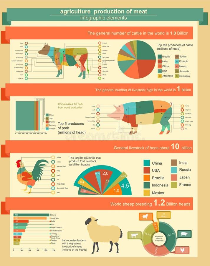 农业,畜牧业infographics,传染媒介例证 皇族释放例证