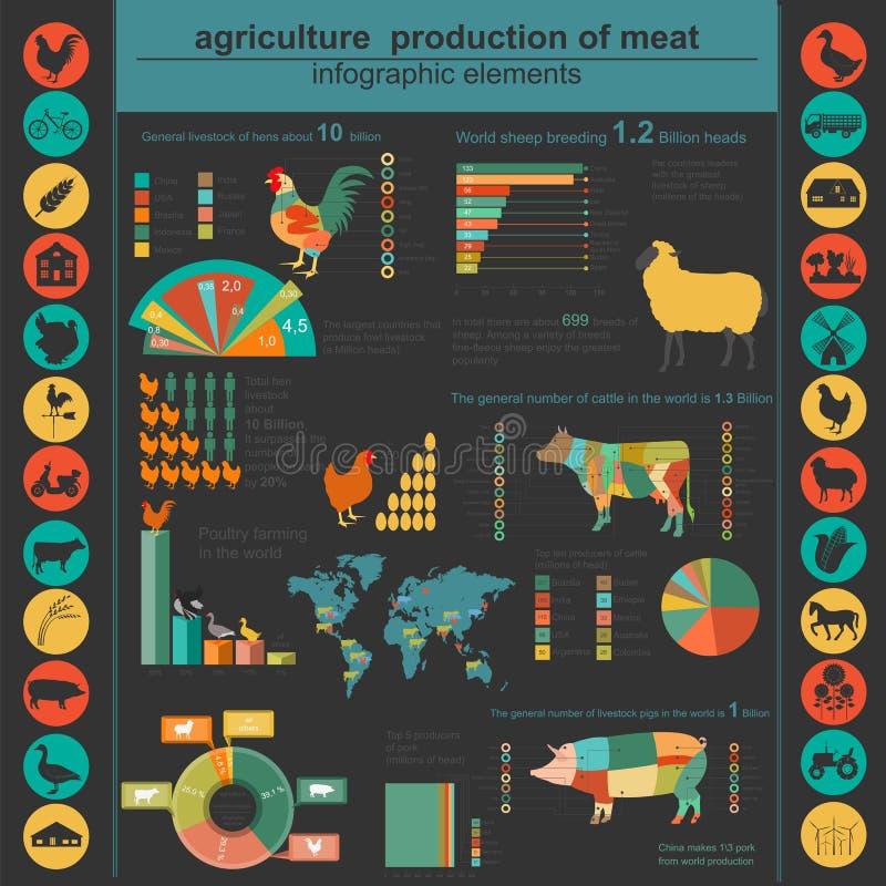 农业,畜牧业infographics,传染媒介例证 库存例证