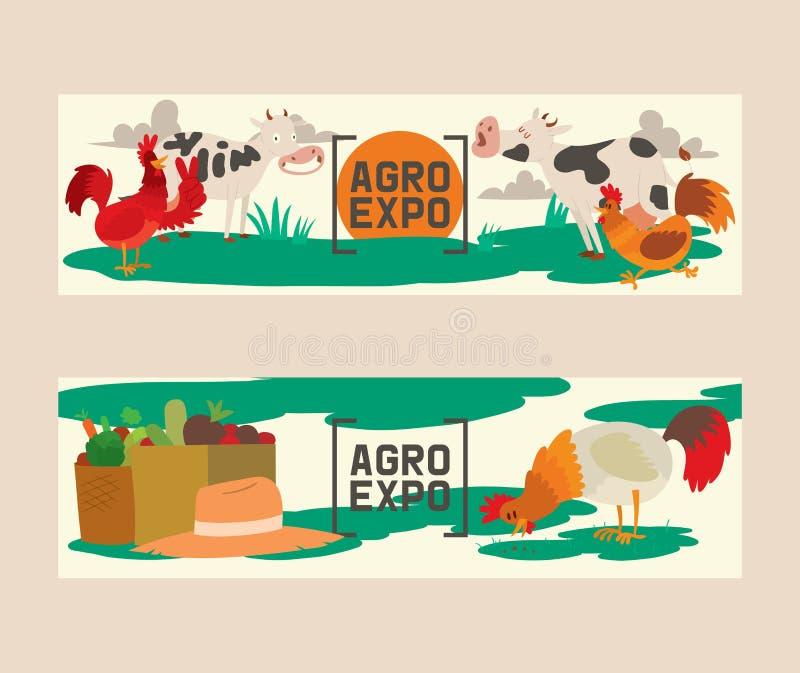 农产品套横幅传染媒介例证 农业的博览会 逗人喜爱的宠物的汇集 家畜  库存例证