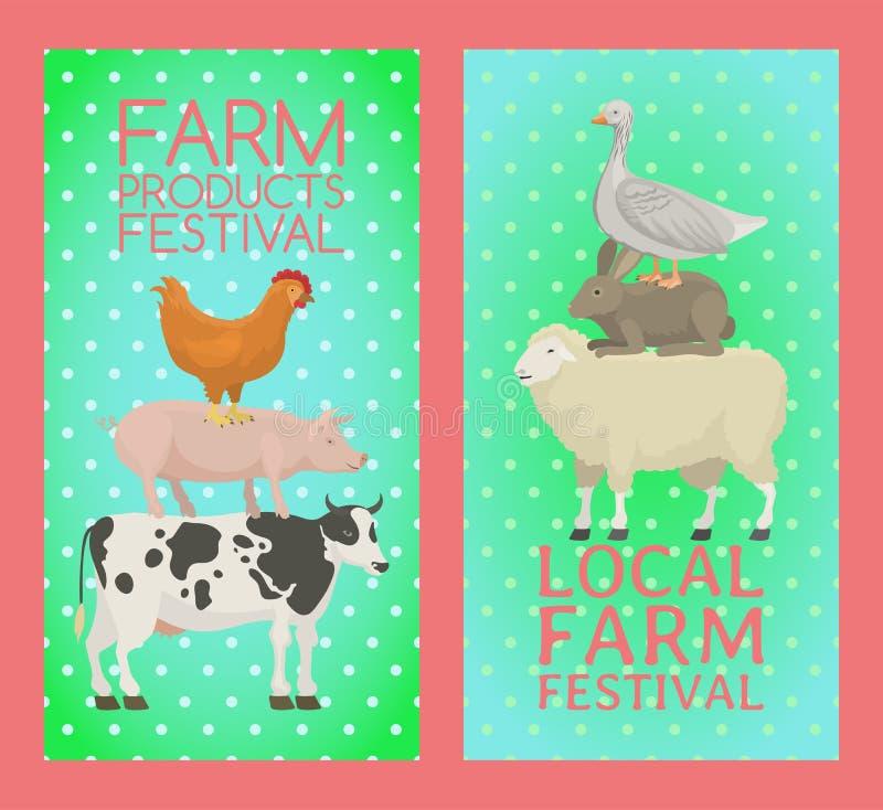 农产品节日横幅传染媒介例证 逗人喜爱的宠物的汇集 作为母牛、猪和鹅的家畜 皇族释放例证