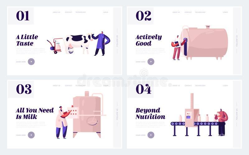 农产部,奶业网站登录页 用机器生产奶食品的植物人 库存例证