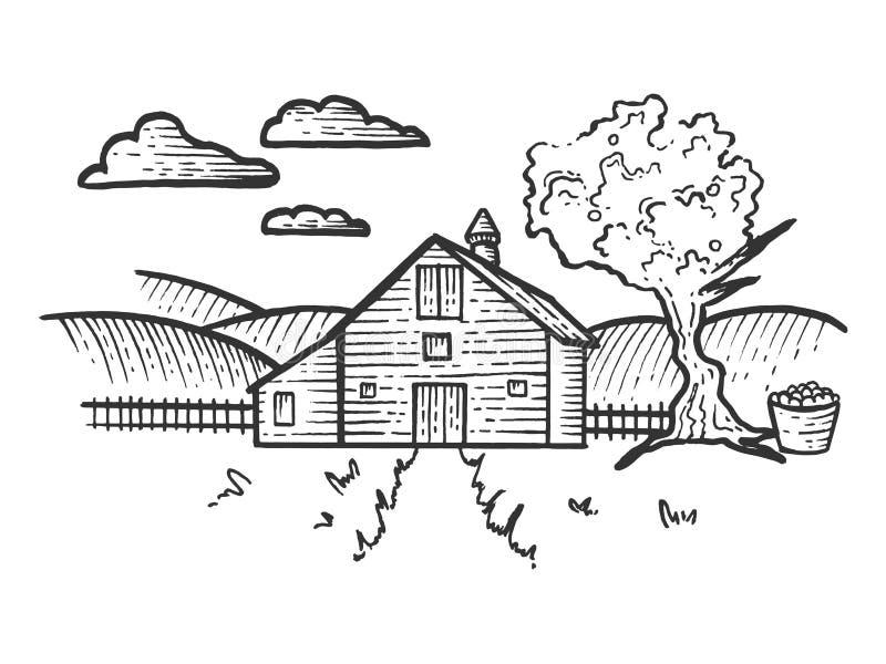 农厂农村风景剪影板刻传染媒介 皇族释放例证