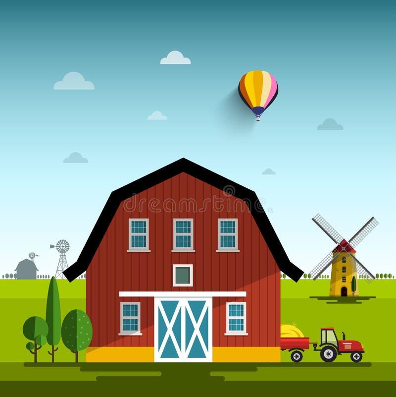 农厂动画片 传染媒介平的设计农村场面 皇族释放例证