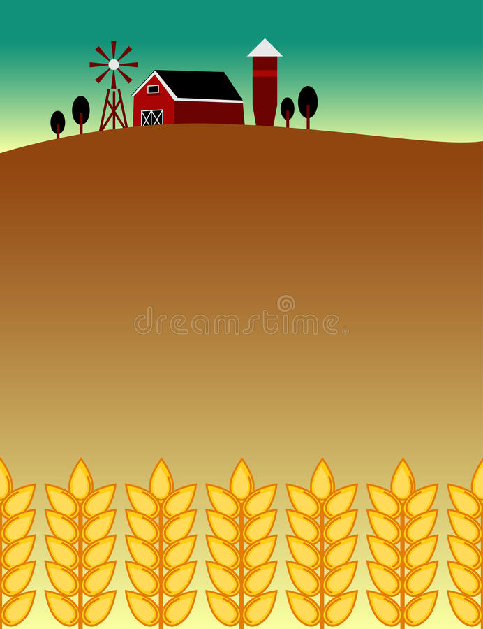 农厂和食物主题的飞行物背景 库存例证