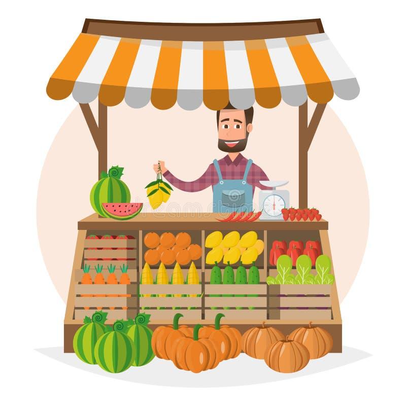 农厂商店 局部市场 卖水果和蔬菜 事务 库存例证