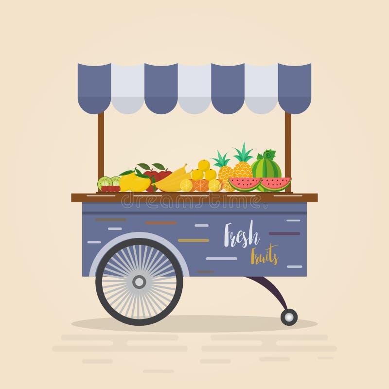 农厂商店 局部市场 卖水果和蔬菜 库存例证